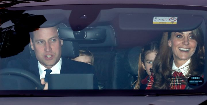 William, Louis, Charlotte and Kate attend a Christmas lunch for members of the royal family hosted by the queen at Buckingham