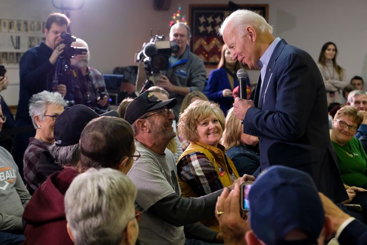 Former Vice President Joe Biden speaks to supporters at a VFW hall in Oelwein, Iowa. He has the highest support among seniors