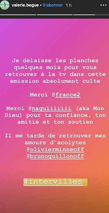 Valérie Bègue a partagé sur son compte Instagram le retour de l'émission