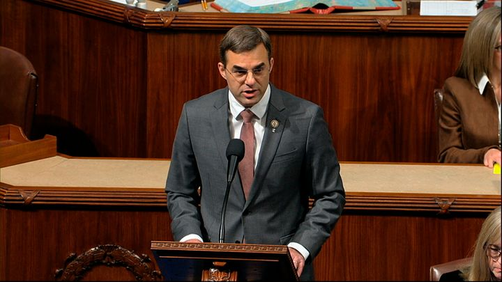 Rep. Justin Amash (I-Mich.) speaks Wednesday as the U.S. House debates the articles of impeachment against President Donald T