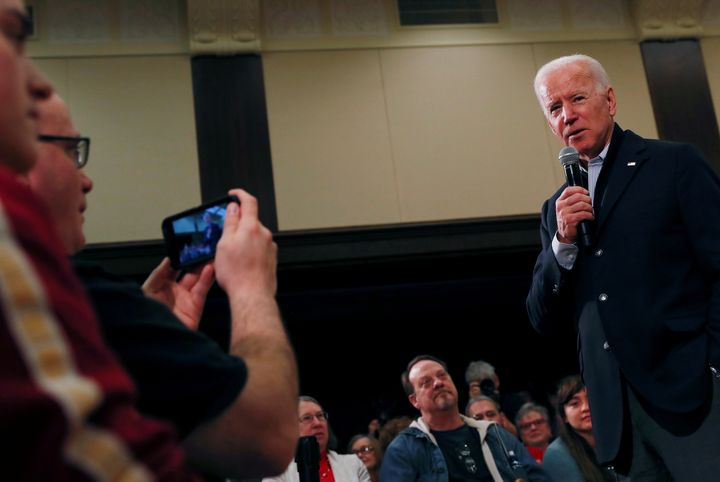 Former Vice President Joe Biden campaigned at Iowa State University in Ames during a bus tour of the state. Very few of the a