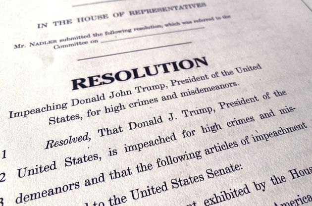 A copy of the House of Representatives articles of impeachment resolution that Democrats hope to use...