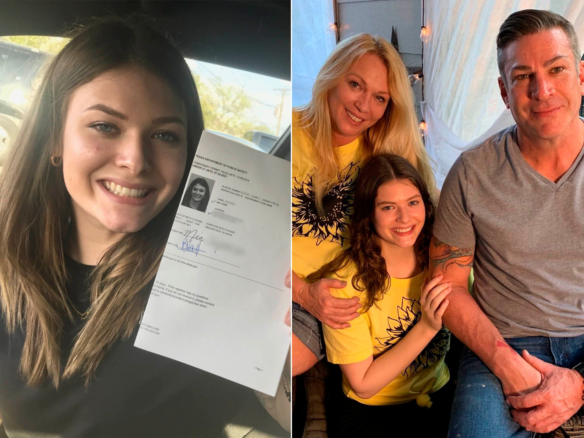Mia after being issued a temporary driver's license in October (left), and Mia with her parents on Sept. 30, the day she was