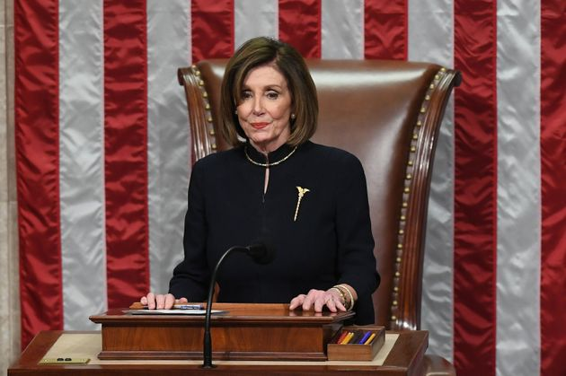 US Speaker of the House Nancy Pelosi presides over Resolution 755, Articles of Impeachment Against President...