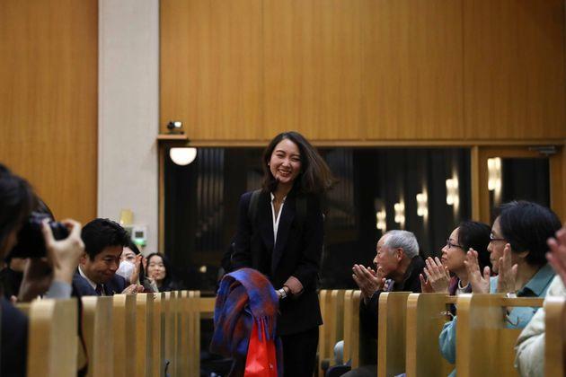 TOKYO, JAPAN - DECEMBER 18: Shiori Ito arrives at supporters gathering at Nihon Christ Kyokai Kashiwagi...