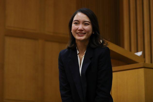 TOKYO, JAPAN - DECEMBER 18: Shiori Ito smiles during supporters gathering at Nihon Christ Kyokai Kashiwagi...
