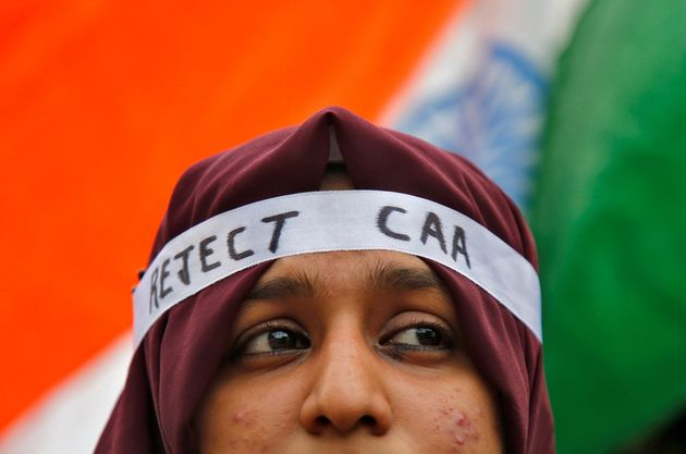 A student attends a protest march against CAA, in Kochi, December 18,