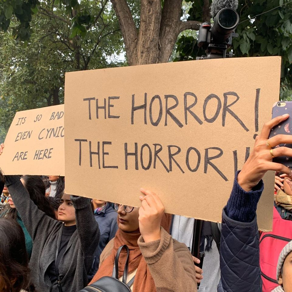 Demonstrators gathered across Delhi to protest the controversial citizenship amendment act on December...