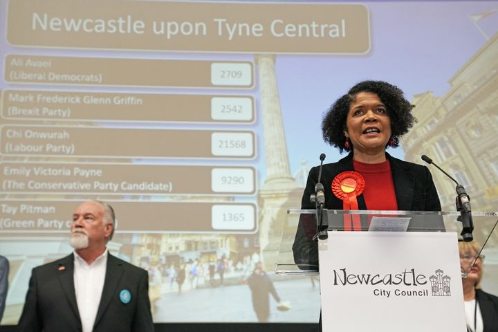 The Labour Party's Chi Onwurah after winning Newcastle Upon Tyne Central at the 2019 General Election.