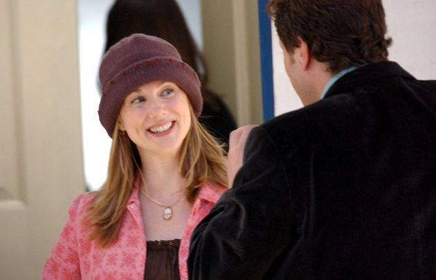 Laura Linney and Colin Firth on the set of Love Actually in 2002.