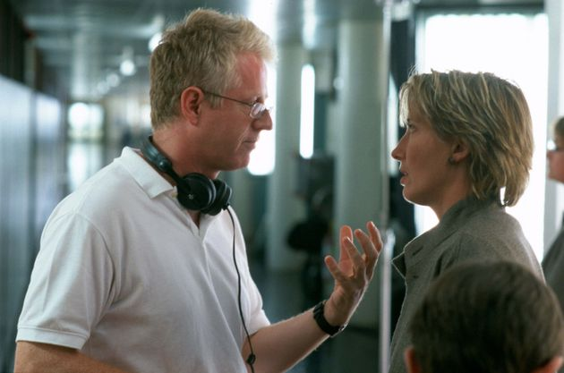 Richard Curtis and Emma Thompson on the set of Love Actually in
