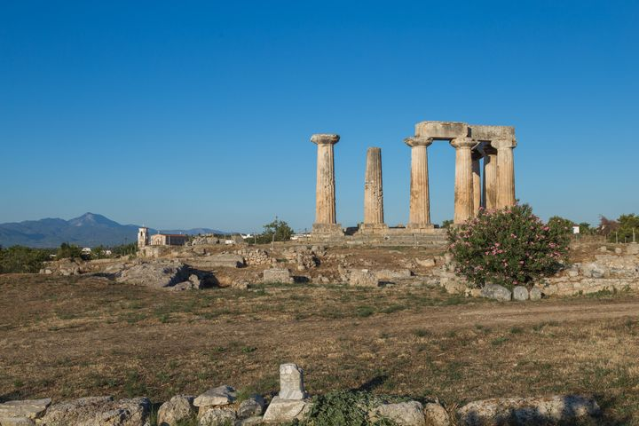 View of ancient Corinth in Greece during the summer
