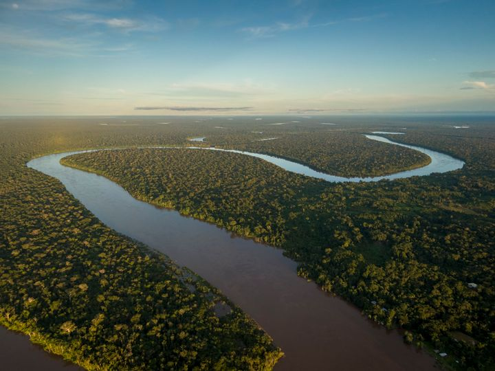 Javari river shot from drone during sunset