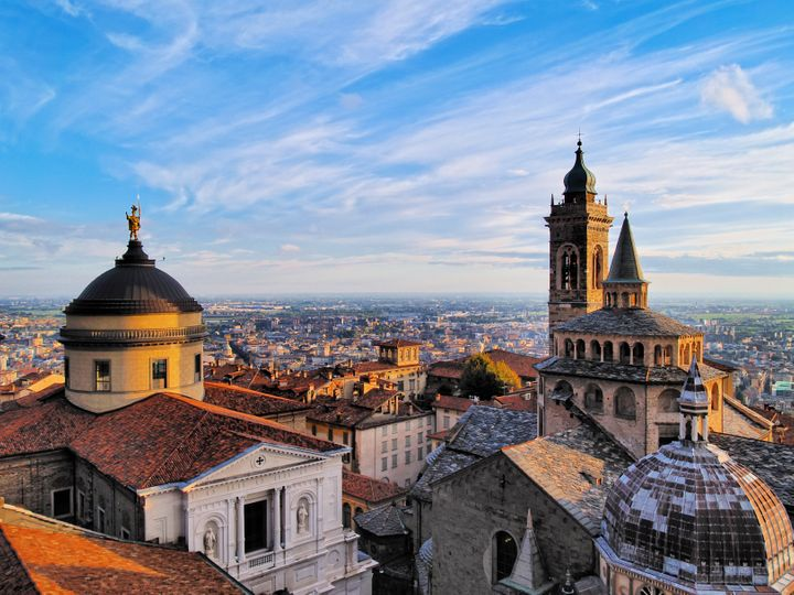 View from city hall tower, Lombardy, Italy