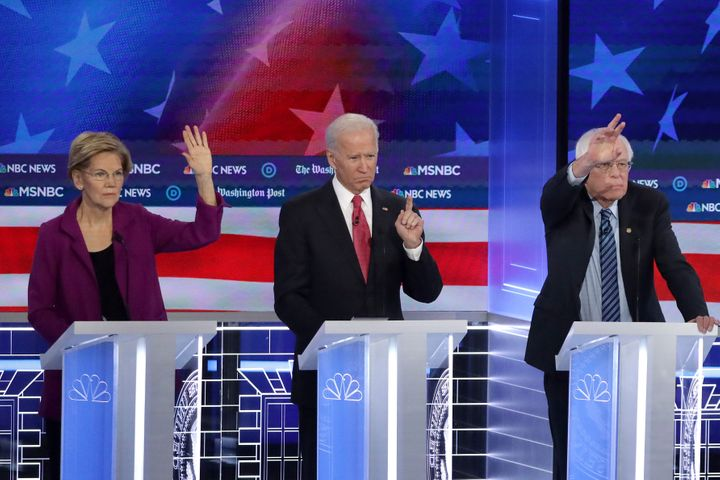 Democratic presidential candidates Elizabeth Warren, Joe Biden and Bernie Sanders participate in the November primary debate