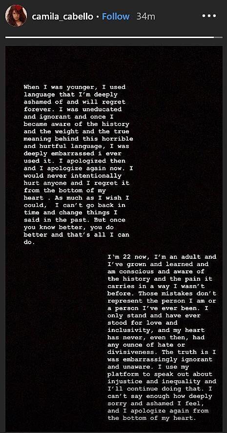 Les excuses de Camila Cabello sur Instagram après la polémique autour de ses publications
