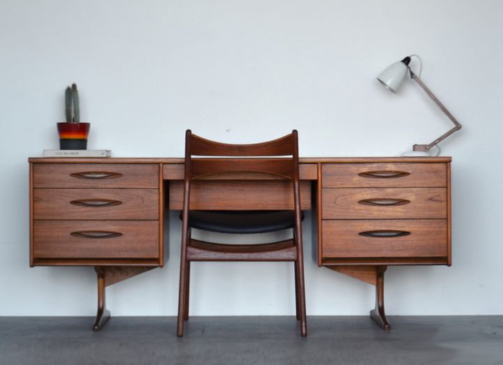 "<a href=""https://fave.co/2Q3JZJo"">Mid-century Danish style teak desk, Vinterior,</a>&nbsp;&pound;465"