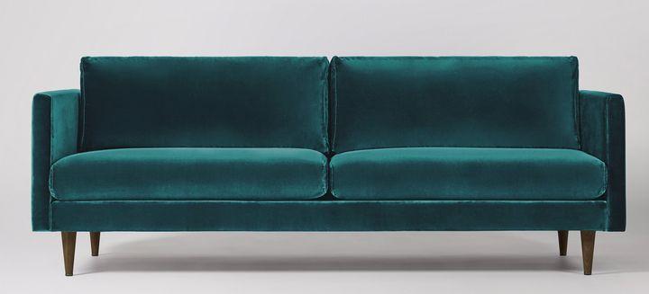 "<a href=""https://fave.co/2Q5Kgvm"">Velvet three-seater sofa from Tivoli, Swoon,</a>&nbsp;&pound;1,299"