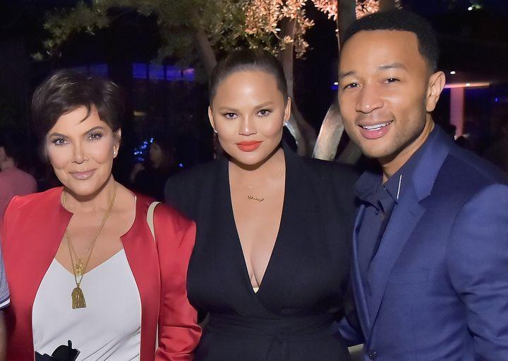 Kris Jenner, Chrissy Teigen and John Legend pictured together in 2018.