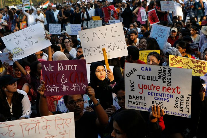 Indians gather during a protest rally against the Citizen Amendment Act in Mumbai on Thursday.