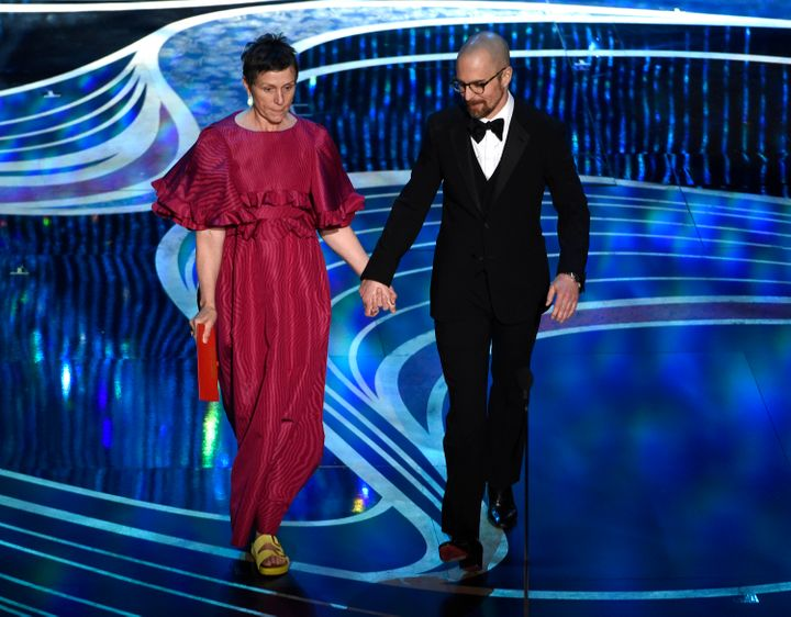 Frances McDormand wearing Birkenstocks at the Oscars with Sam Rockwell on Feb. 24, 2019.