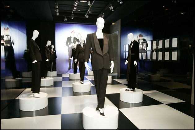 Smoking Forever Paris Exhibition About Yves Saint Laurent's Emblematic Creation. (Photo by Bertrand Rindoff...