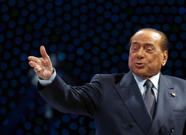 Silvio Berlusconi, Italian former Premier and President of Forza Italia (Go Italy) party speaks during...