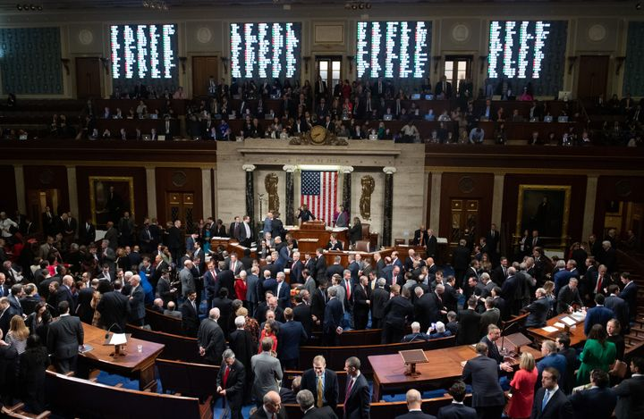 US Speaker of the House Nancy Pelosi presides over Resolution 755, Articles of Impeachment against President Donald J. Trump
