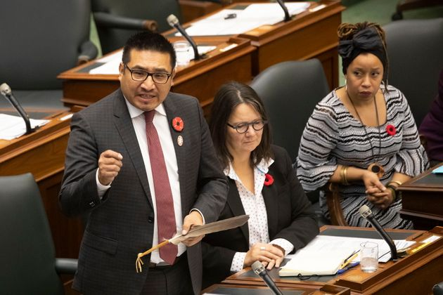Sol Mamakwa, NDP MPP for Kiiwetinoong, speaks at Queen's Park in Toronto on Nov. 6,