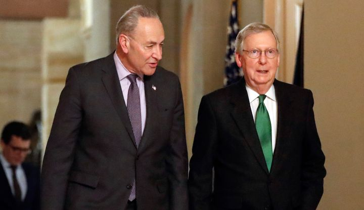 Senate Minority Leader Chuck Schumer (D-N.Y.), left, said it's imperative that Mitch McConnell (R-Ky.) is no longer the major
