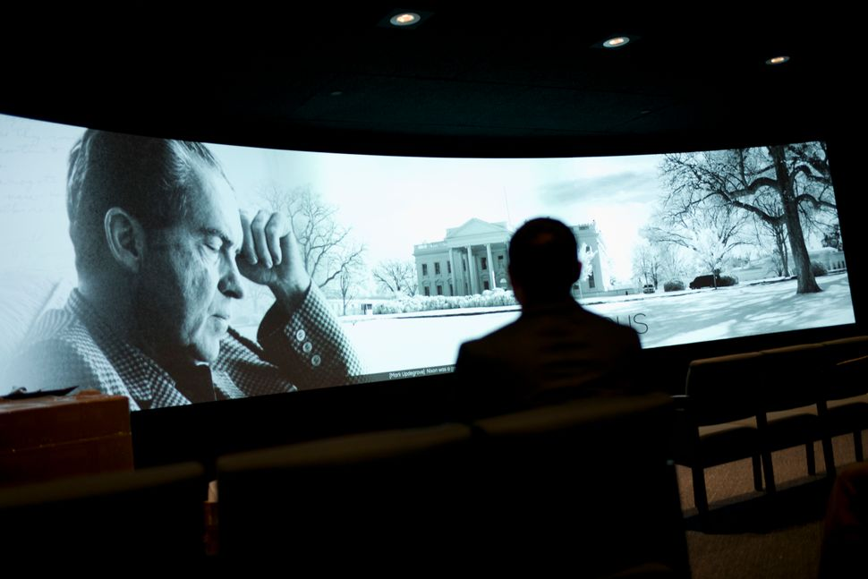 In this Oct. 5, 2016, photo, a film at the Richard Nixon Presidential Library and Museum in Yorba Linda, California,ope