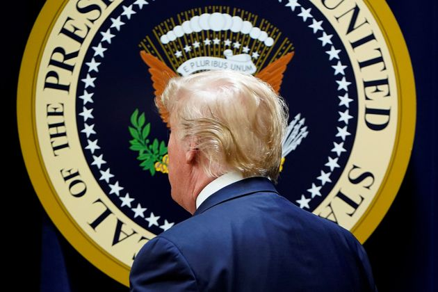 U.S. President Donald Trump departs after attending the