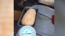한 호주인이 승용차에서 돼지고기 요리를 시도해 보았다