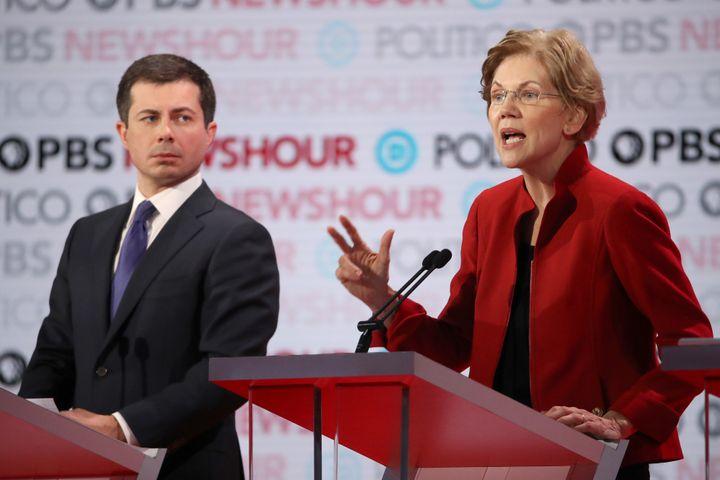 Sen. Elizabeth Warren (D-Mass.) took on South Bend, Indiana, Mayor Pete Buttigieg during the presidential debate for his reli