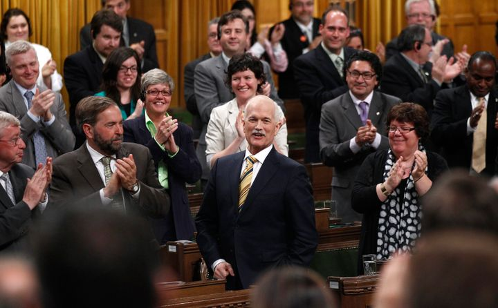 New Democratic Party leader Jack Layton receives a standing ovation while speaking in the House of Commons on Parliament Hill in Ottawa June 2, 2011.