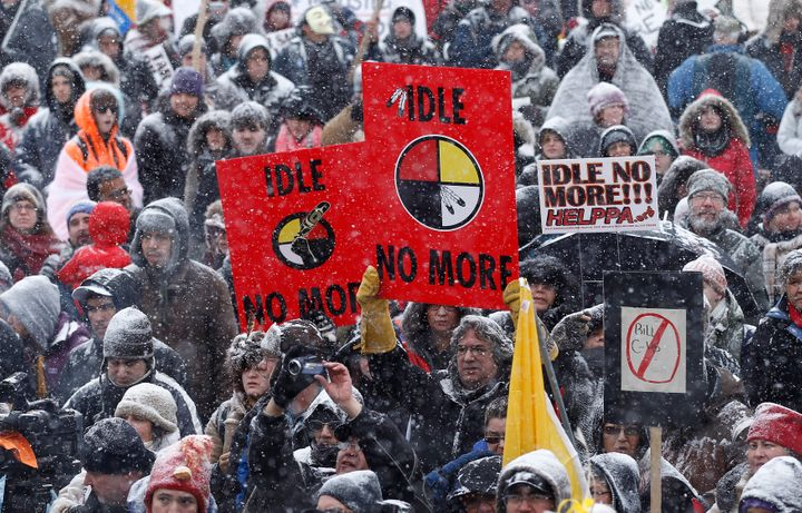 "First Nations protestors take part in an ""Idle No More"" demonstration on Parliament Hill in Ottawa on Jan. 28, 2013."