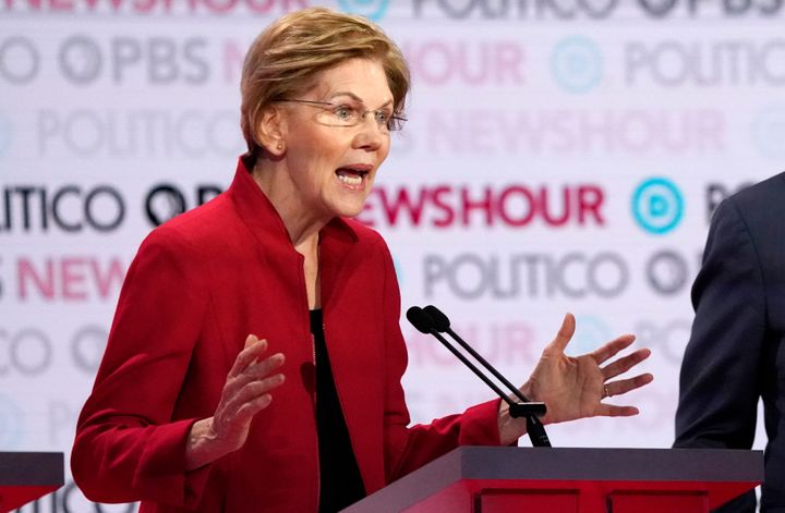 Democratic presidential candidate Elizabeth Warren speaks during the sixth Democratic debate Thursday at Loyola Marymount Uni