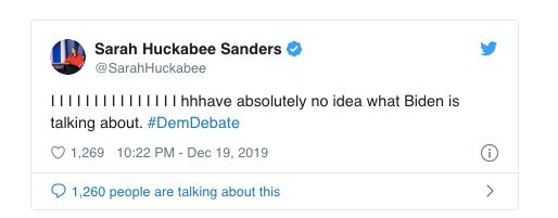 The since-deleted tweet by Sarah Huckabee Sanders.