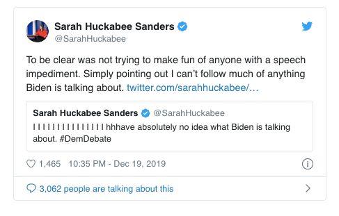 Sarah Huckabee Sanders' excuse tweet.