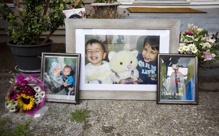 Photographs of Alan Kurdi and Galip Kurdi, who were among 12 people who drowned in Turkey trying to reach Greece, are pictured outside of Tima Kurdi's home in Coquitlam, B.C., on Sept. 3, 2015.