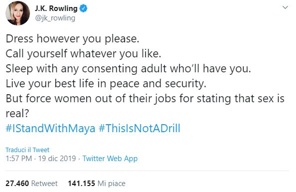 J.K. Rowling accusata di essere
