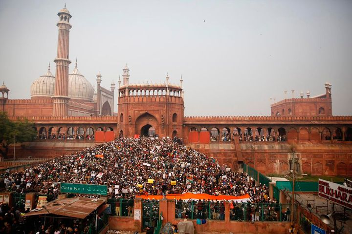 Indians gather for a protest against the Citizenship Amendment Act after Friday Prayers outside Jama Masjid in New Delhi on F