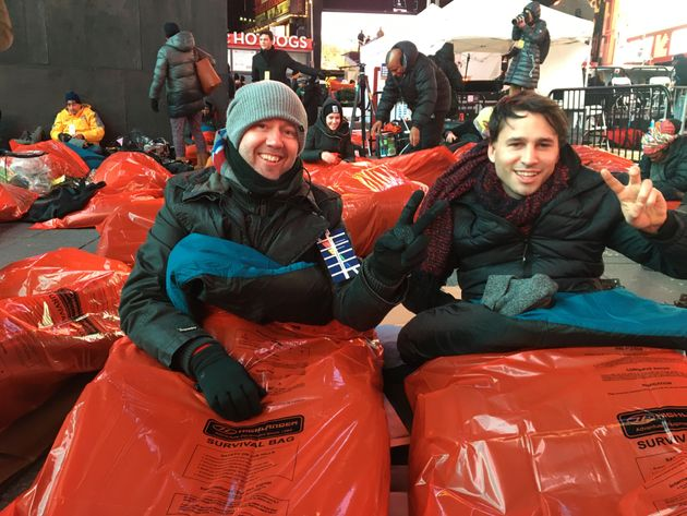 Jack Littlejohn (right) and his cousin Garath Harper (left) at the The World's Big Sleep Out.