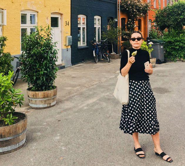 Sorcha McCrory eating gelato in the Østerbro neighborhood of Copenhagen,