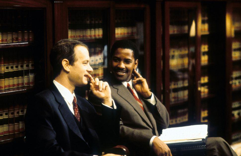 "Tom Hanks and Denzel Washington in 1993's ""Philadelphia."""