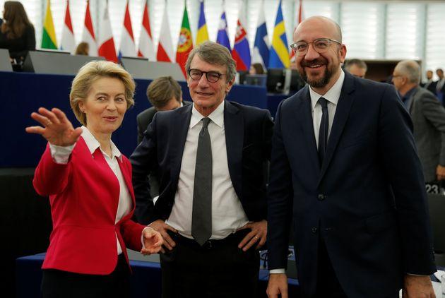 European Parliament President David-Maria Sassoli, European Commission President Ursula von der Leyen...