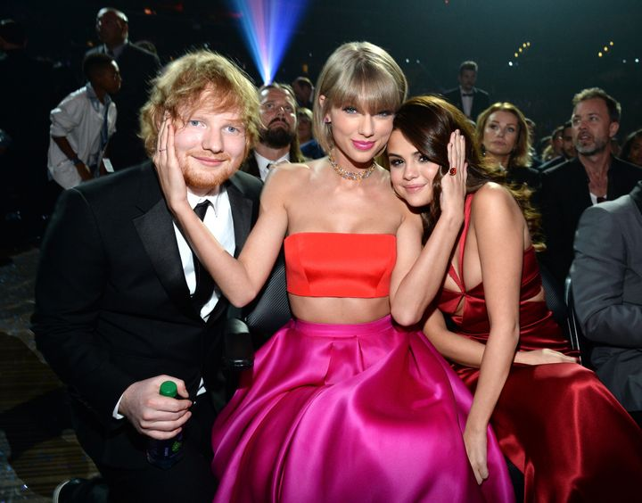 Sheeran, Taylor Swift and Gomez attend the 58th Grammy Awards on Feb. 15, 2016 in Los Angeles.