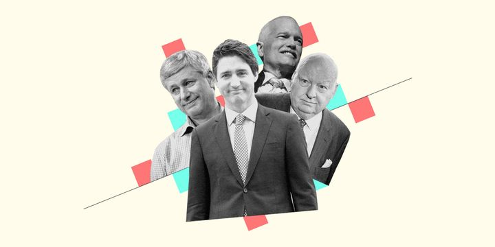 An illustration by HuffPost's Rebecca Zisser (with photos from The Canadian Press) of Stephen Harper, Justin Trudeau, Jack Layton, and Mike Duffy.