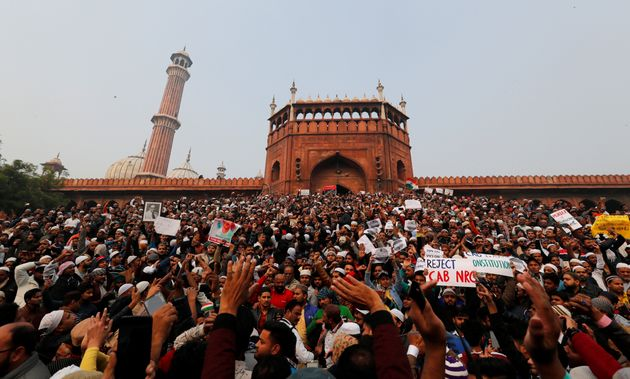 Demonstrators attend a protest against a new citizenship law, after Friday prayers at Jama Masjid in...