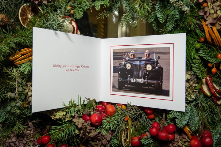 The Christmas card of Prince Charles and Camilla, Duchess of Cornwall is displayed at Clarence House in London on Dec. 20, 20